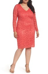Marina Plus Size Women's Lace Sheath Dress Coral