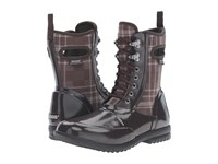 Bogs Sidney Lace Plaid Chocolate Multi Women's Rain Boots Brown