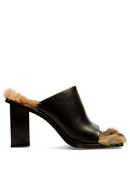 Marques Almeida Fur Lined Leather Mules Black Brown