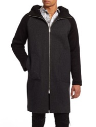 Plac Hooded Knit Coat Grey Black