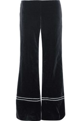 La Ligne Satin Trimmed Velvet Wide Leg Pants Navy