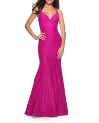 La Femme V Neck Sequined Stretch Lace Mermaid Gown With Strappy Back Hot Pink