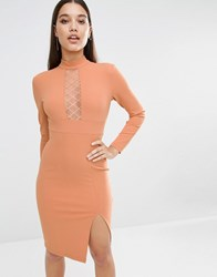 Naanaa Long Sleeve Pencil Dress With Diamond Mesh Insert Teracotta Rust Orange