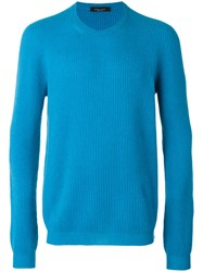 Roberto Collina Ribbed Knit Sweater Blue