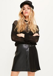 Missguided Black Faux Leather Pleated Mini Skirt