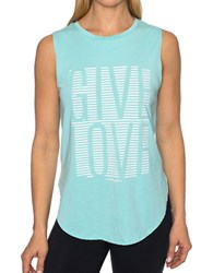 Betsey Johnson Give Love Stripe High Low Muscle Tank Blue