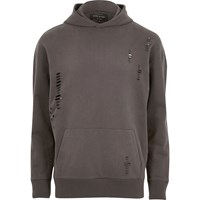 River Island Mensbig And Tall Grey Distressed Hoodie