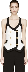 Balmain Black And White Double Breasted Vest