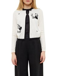 Ted Baker Scarlie Embroidered Cardigan White