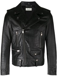 Saint Laurent Scale Textured Biker Jacket Black