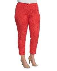 Marina Rinaldi Floral Jacquard Ankle Cropped Pants Women's Red