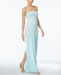 Adrianna Papell Strapless Beaded Gown Aqua Glass