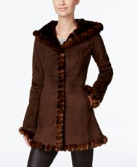 Jones New York Faux Fur Trim Faux Suede Walker Coat Chocolate Mahogany Mink