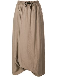 Y's Asymmetric High Waisted Skirt Nude And Neutrals