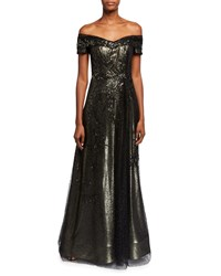 Rene Ruiz Off The Shoulder Bead Embellished A Line Gown Black Gold