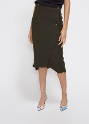 Vetements 'S Wrapped Pencil Skirt In Green Size Small Viscose Acetate Viscose Lining