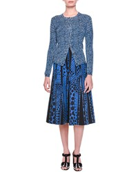 Bottega Veneta Tweed Print Button Cardigan Blue Black