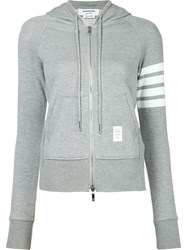 Thom Browne Striped Detail Zipped Hoodie Grey