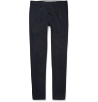 Incotex Tapered Cotton Trousers Blue