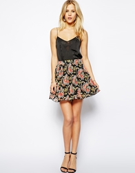Asos Pleated Skater Skirt In Woven Floral Print Multi