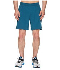 Asics 2 N 1 7 Shorts Blue Steel Heather Gray