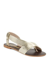 Free People Under Wraps Metallic Leather Gladiator Sandals Gold