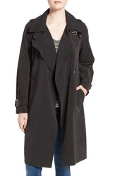 French Connection Women's Double Breasted Snap Trench Coat Black
