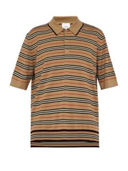 Burberry Heritage Striped Wool Polo Shirt Camel