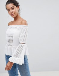 Prettylittlething Lace Bell Sleeve Bardot Top White