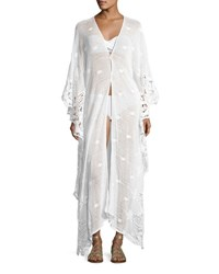 Miguelina Addison Long Scallop Lace Caftan White