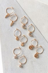 Urban Outfitters Mini Charm Hoop Earring Set Gold