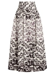 Sophie Theallet Yue Pleated Silk Mikado Skirt Black White
