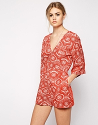 Motel Valeria Kimono Sleeve Playsuit In Terracotta Tile Print