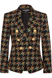 Balmain Double Breasted Houndstooth Tweed Blazer Black