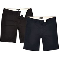 River Island Mensnavy And Black Chino Shorts Two Pack