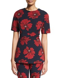 Lela Rose Short Sleeve Floral Print Peplum Top Navy Poppy