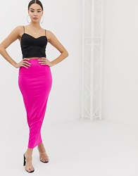 Boohoo Ribbed Maxi Skirt In Neon Pink Pink