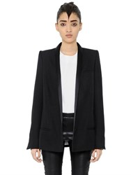 Haider Ackermann Satin Reverse Wool Cloth Long Blazer