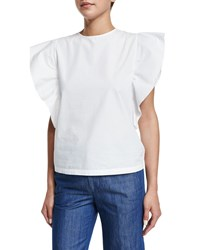 Co Butterfly Sleeve Jewel Neck Top White