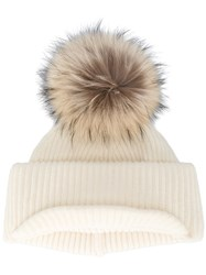 Inverni Neutral Ribbed Cashmere Hat With Visor And Fur Pom Pom Cashmere Wool Raccoon Dog Nude Neutrals