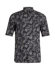 Lanvin Koi Print Short Sleeved Cotton Voile Shirt Navy
