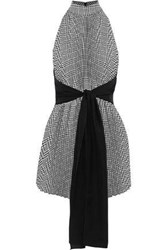 Tome Woman Tie Front Houndstooth Woven Top Black