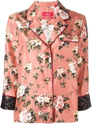 For Restless Sleepers Three Quarters Sleeve Floral Shirt Pink And Purple