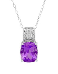 Lord And Taylor Amethyst Diamond Sterling Silver Cushion Pendant Necklace Purple
