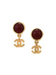 Chanel Vintage Zirconium Logo Clip On Earrings Red