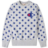 Champion Reverse Weave Stars Crew Sweat Grey