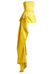 Halpern Asymmetric Draped Satin Bustier Top Yellow