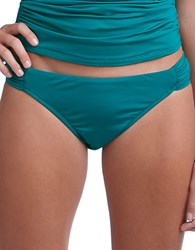 Badgley Mischka Shirred Hipster Swim Bottom Green