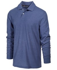 Club Room Men's Performance Sun Protection Long Sleeve Polo Chambray Blue