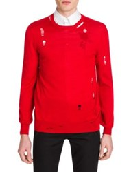 Alexander Mcqueen Distressed Wool Knit Sweater Red